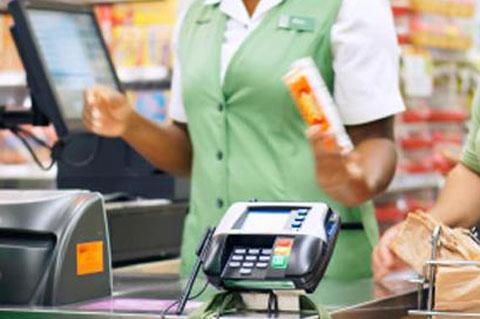 Card reader device at checkout
