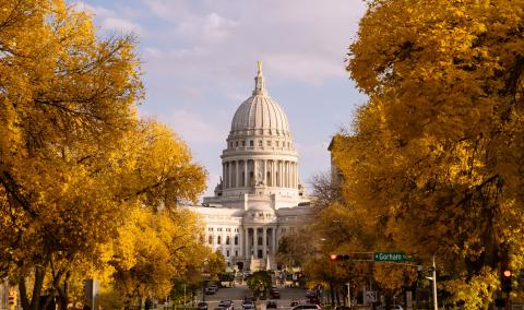 Wisconsin state Captiol building in the Fall
