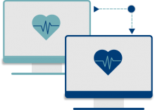 Asynchronous Services Icon, two computers with heartbeat logos
