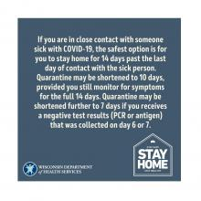 If your employee is in close contact with someone sick with COVID-19, they should stay home for 14 days from contact