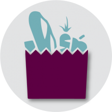 .Food share icon. Symbol of bag filled with food