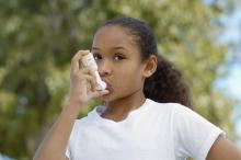 Girl uses an inhaler