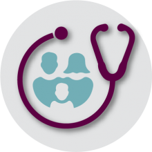 Medicaid icon. Stethoscope with people shapes