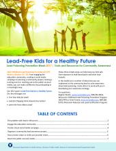 Lead Poising Prevention Week Toolkit Front Cover