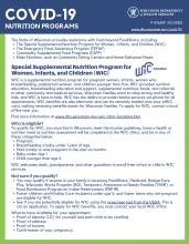 Page 1 of the publication COVID-19 nutrition programs, Women, Infants and Childrens (WIC) P02620F
