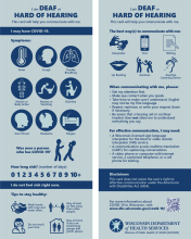 Deaf and hard of hearing visual communication card for COVID-19 P-02629