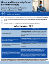 Home and Community Based Service Providers: Use and conservation of PPE P-02665a