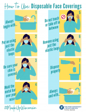 How to use disposable face coverings in eight steps. #MaskUpWisconsin
