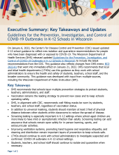 Executive Summary: Guidelines for the Prevention, Investigation, and Control of COVID-19 Outbreaks in K-12 Schools in WI. P-02757a