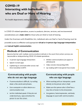COVID-19 Interacting with Individuals who are Deaf or Hard of Hearing, P02764