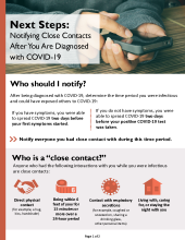 Next Steps when you test positive for COVID-19, who should you notify? P-02803