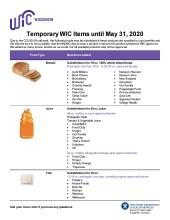 Temporary WIC Items until May 31, 2020: P-44578F