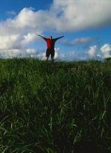 Image of a solitary person with upraised arms in a field setting
