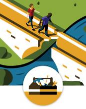 An illustration of two people walking up to a broken bridge over a rushing river