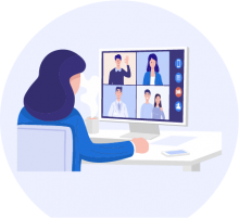Illustration of an adult video conferencing on a pc