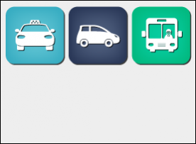 Non-emergency medical transportation icons, taxi, car and bus