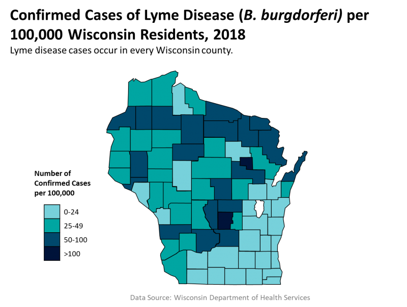 Lyme Disease: Wisconsin Data | Wisconsin Department of ... on lyme disease incidence map, medscape lyme disease map, usa lyme disease map, lyme's disease map, lyme disease in ohio map, lyme disease occurrence map, lyme disease regions map, lyme disease range map, lyme disease in dogs map, canada lyme disease map, lyme disease indiana map, lyme nh map, rocky mountain spotted fever map, lyme disease world map, 2014 state lyme disease map, tick disease map, lyme disease distribution map, 2014 wisconsin lyme disease map, lyme disease epidemiology map, lyme disease texas map,