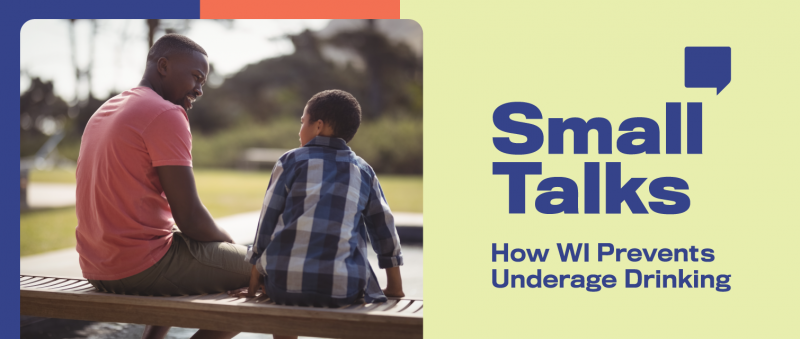Father and son on a park bench combined with the Small Talks campaign logo