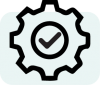 Icon of a gear with a checkmark in the center