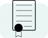 Icon of paper with ribbon in lower left corner