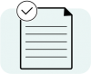 Icon of paper with checkmark in upper left corner