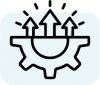 Icon of bottom half of a gear with three arrows on top