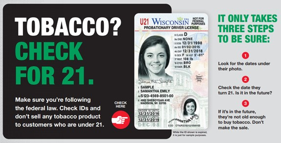 Tobacco? Check for 21, Check for under 21 until date