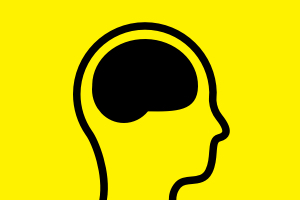 Image of a face with black brain on yellow background