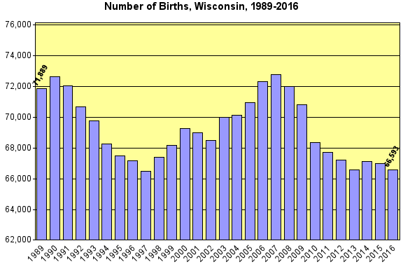 Chart displaying total births in Wisconsin